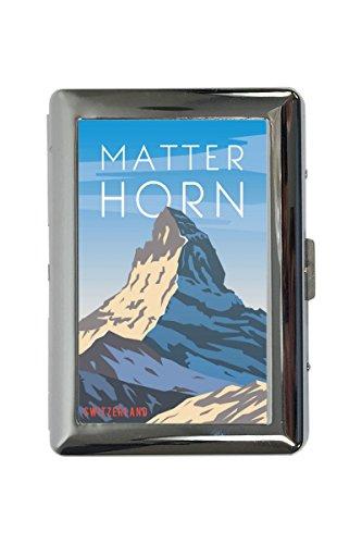 portasigarette in Metallo Vacanza Agenzia Di Viaggi Matterhorn Svizzera Stampato
