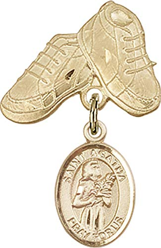 14kt Gold Baby Badge with St. Agatha Charm and Baby Boots Pin St. Agatha is the Patron Saint of Nurses/Breast Cancer 1 X 5/8
