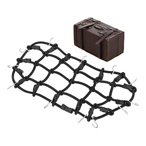 Perfeclan Support de Toit de Crochet de Filet de Bagage en Caoutchouc de Filet de Bagage pour 1/10 RC Rock Crawler