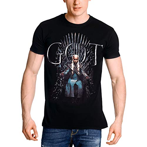 Game of Thrones Elbenwald T-Shirt Daenerys Targaryen for The Throne Frontprint für Herren schwarz - M