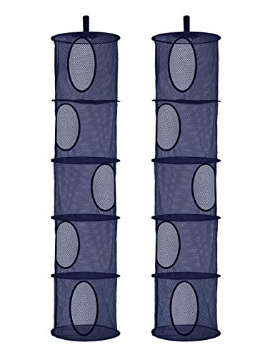 2Pcs Foldable Hanging Storage Mesh Space Saver Bags OrganizerFoldable Suspension Storage 5 Compartments Toy Storage Organize for Kid Room Toys GlovesHatsSocks Storage 551quotx 12quot Dark Blue