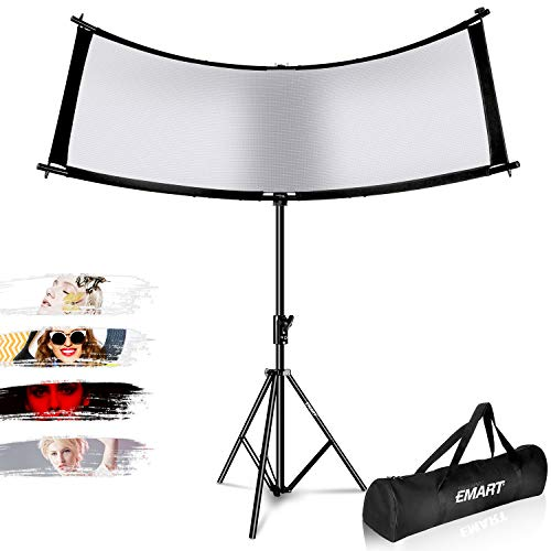 EMART Photography Clamshell Light Reflector Kit with Tripod Stand, 66x24 Inch Arclight Curved Eyelighter Reflector/Diffuser for Portrait Lighting Filming Shooting, Black/White/Gold/Silver