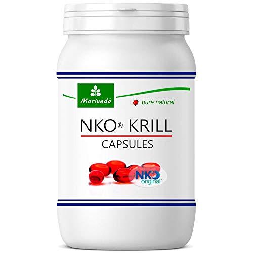 NKO Krill Oil softgel Capsules (Test Winner) 30, 90 or 270 pcs. in Pharmacy Quality from MoriVeda - Omega 3,6,9 astaxanthin, Vitamin E, Choline, phospholipids, krilloil (90 softgel Capsules)