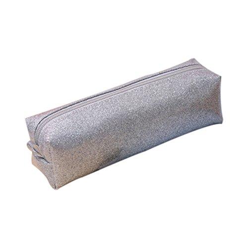 itemer Fashion tóner estuche, gran capacidad Papelería caja de lápiz bolso de la bolsa con cremallera Comestic maquillaje bolsa adolescente bolsa de almacenamiento (plata)