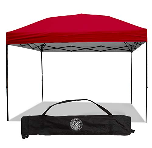 Punchau Pop Up Canopy Tent 10 x 10 Feet, Red - UV Coated, Straight Leg, Waterproof Instant Outdoor Gazebo Tent, Bonus Roller Carry Bag