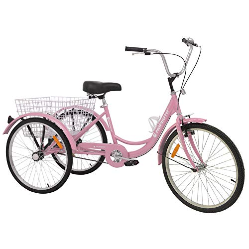 MOPHOTO Adult Tricycles Three Wheel Bike Cruise Trike, Adult Tricycle 16 Inch for...