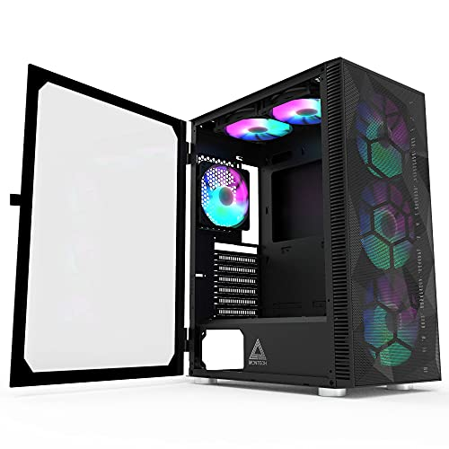 MONTECH X3 Mesh Black – ATX Mid-Tower PC Gaming Case-6 RGB Rainbow Fan – Pannello frontale in rete – Pannello laterale in vetro Out-Pull – Gestione cavi – High Airflow Gaming Case
