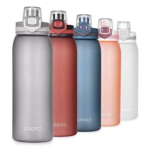 Opard Trinkflasche Sport 900ml -Wasserflasche aus Tritan BPA-Frei, Auslaufsicher Sportflasche für Kinder, Sport, Fitness, Fahrrad, Fußball, Outdoor(Grau)