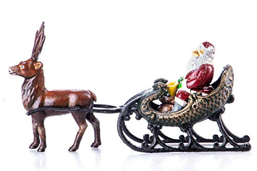 N / A Weihnachtsmann mit Rentier Schlitten 37x20 cm Gusseisen antik Stil Dekofigur