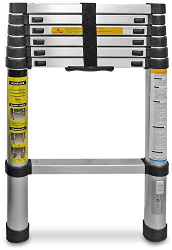 Eaxus® Teleskopleiter 2,0m - Aluminium Mehrzweckleiter Ausziehbar mit 7 Stufen, Silber