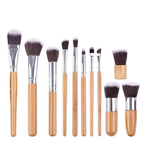 HU Pinceau de Maquillage Set, Outils de poignée en Bambou Professionnels, Brosse à Cheveux Naturel synthétique