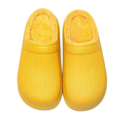 MEILEQI Zapatillas Impermeables para Mujer, acogedoras, Zapatillas de Peluche, Zapatillas, Millas al Aire Libre, Zapatillas, Amarillo, 37~38 (Color : Yellow, Size : 39~40)