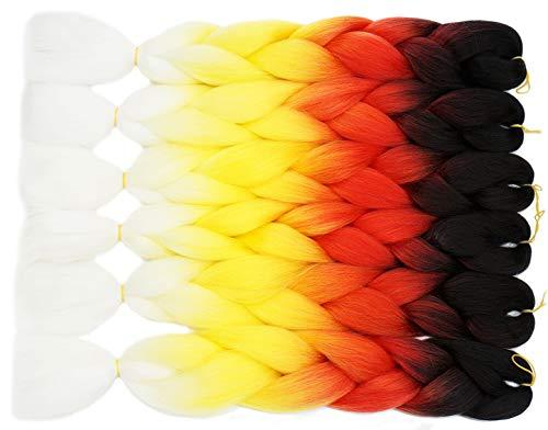 Lot de 6 extensions de cheveux synthétiques à longs cheveux 61 cm Blanc/jaune/rouge/noir