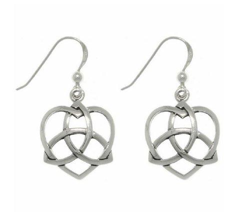 Jewelry Trends Celtic Trinity Knot Love Heart Sterling Silver Sterling Silver Dangle Earrings