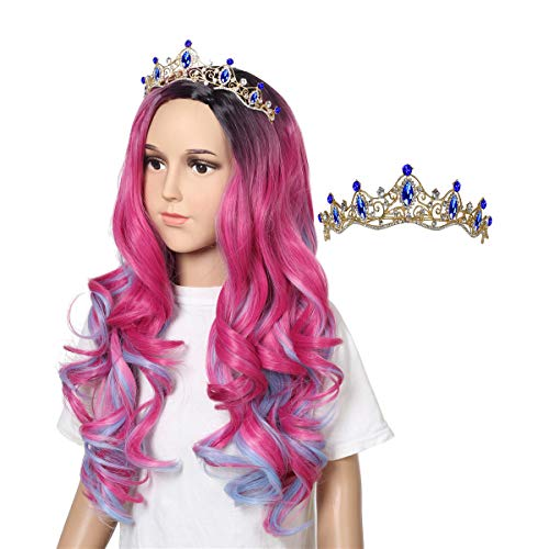 ColorGround Hot Pink Blue Curly Cosplay Wig for Halloween Costumes and Party (Dark Root Rose with Crown)