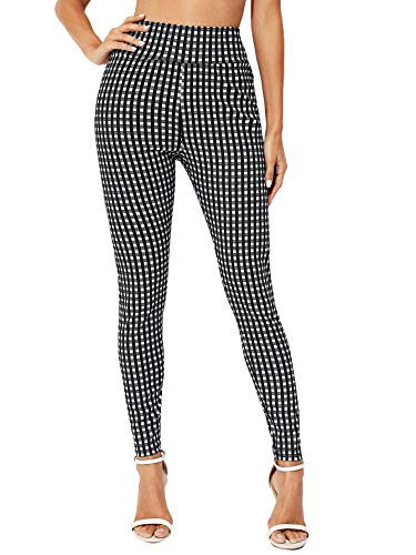 SOLY HUX Women's Elastic High Waisted Gingham Skinny Pants Trousers Black and White L