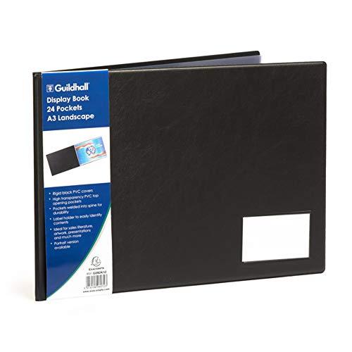Exacompta GDB24/LZ Protège document A3 ( 21 cm x 29,7 cm ) 24 pochettes lisses pour 48 vues présentation verticale couverture rigide avec porte étiquette noires.