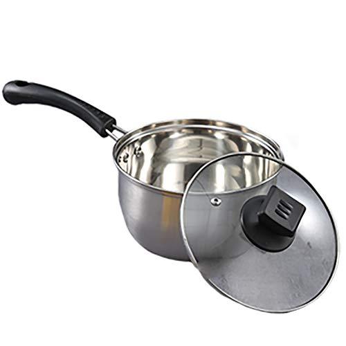 Cacerola, sartén de acero inoxidable, sartén de leche con tapa, sartén de inducción, juegos de ollas y sartenes, 16 cm, cocina de inducción aplicable estufa de gas-16CM