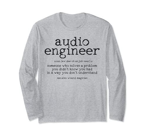 Audio Ingeniero Definición Sonido Técnico Ingeniería Regalo Manga...