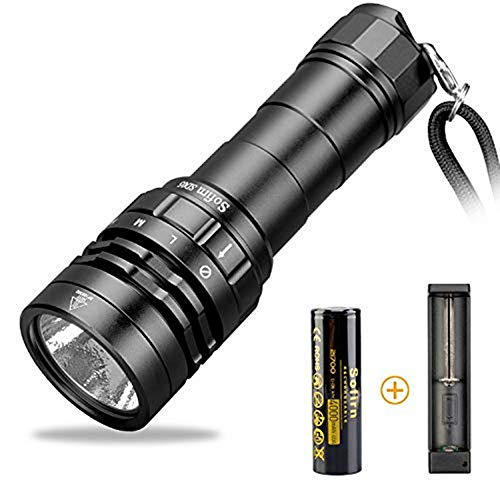 sofirn Scuba Diving Flashlight, SD05 3000lm Powerful Waterproof Light, 100m Underwater, with Rechargeable 21700 Battery (Inserted) and USB Charger