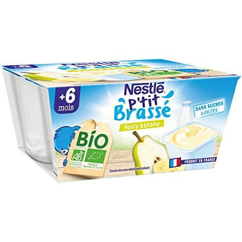 Nestlé bébé P'tit Brassé BIO Banane Poire - Laitage dès 6 mois - 4x90g - Pack de 6 ( 24 Laitages )