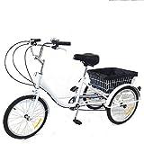 Triciclo de 20 pulgadas para adultos, con cesta, 8 velocidades, 3 ruedas, cambio de triciclo con cesta de la compra, triciclo para deportes al aire libre y urbano, acero al carbono, color blanco