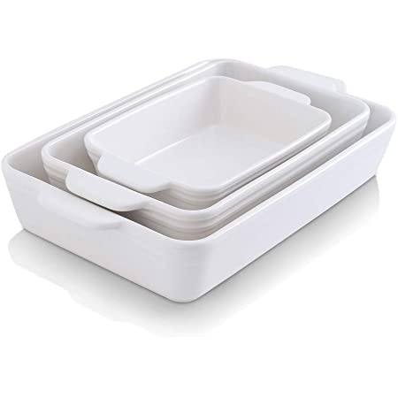 KOOV Bakeware Set, Ceramic Baking Dish Set, Rectangular Casserole Dish Set, lasagna Pan, Baking Pans Set for Cooking, Cake Dinner, Kitchen, 9 x 13 Inches, 3-Piece (Set of 3, White)
