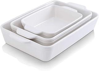 KOOV Bakeware Set, Ceramic Baking Dish Set, Rectangular Casserole Dish Set, lasagna Pan, Baking Pans Set for Cooking, Cake...