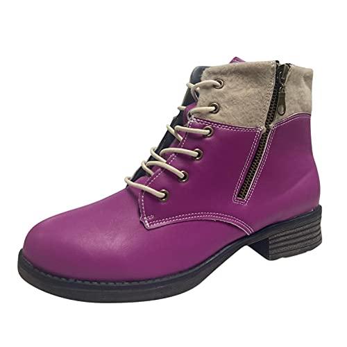 RTPR Botines para mujer, botines con tacón cuadrado retro, ante para otoño e invierno, botas de trabajo, botas de nieve para mujer, morado, 40 EU