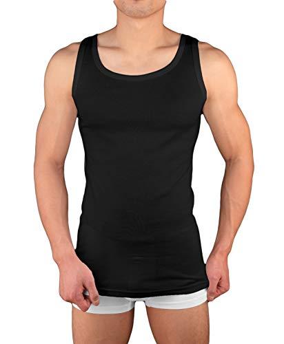 4er Pack Herren Unterhemd Achselshirt Tank Top aus 100{1b7762cc55a9288633cdb5e6cdc6446284b7a442c7a0c882717b6bcd5c506103} Baumwolle feinripp (glatt) in weiß, grau oder schwarz (4 / XL, Schwarz)