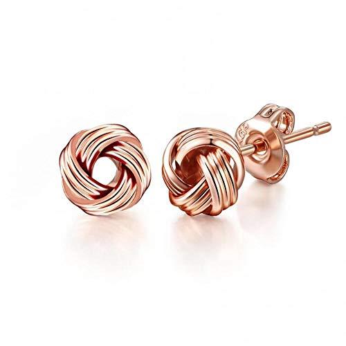 Pendientes de nudo de amor de oro rosa