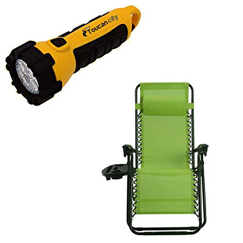 Toucan City LED Flashlight and Goplus Green Chair without Footrest Zero Gravity Reclining Plastic Outdoor Lounge Chair OP70528LS