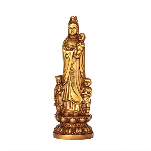 AMYZ Feng shui GuanYin Statue Guanyin Buddha Statue Brass Crafts Decoration,Home Decor Buddhism Goods Best Gifts,implies many children and grandchildren,prosperity,natural