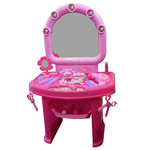 Forest & Twelfth Kids Vanity Set with Mirror, Shelf and Fashion Accessories, Toddler Makeup Table, Beauty Salon, Toys for 3 Years Old Girls, Pretend Play, Best Birthday for Kids