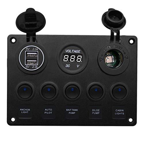 Homyl Voltmètre Port USB Double LED avec Couvercle Étanche - #1