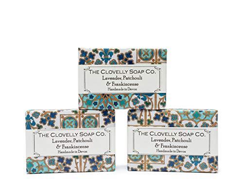 Clovelly Soap Co. Savon Naturel Fait Main - Lavande, Patchouli et Encens - Tous Types de Peau – 3x 100 g