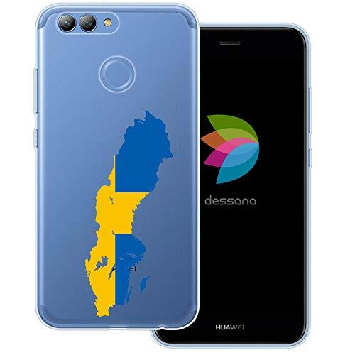 dessana Sverige transparent skyddsfodral mobiltelefon fodral fodral väska för Huawei, Huawei Nova 2, Sverige karta