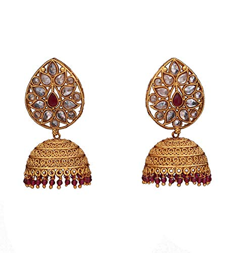 Suryagems Ethnic Jhumki Earrings Gold Plated Design Indian Handcrafted Fashion Jewellery for Girls and Women ME 166 M-RED