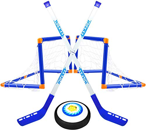 BGdoyz Kinderspielzeug Hover Hockey Set mit 2 Toren - Air Power Fußball Trainingsball Hockeyspiel Indoor Outdoor Hockeyspielzeug Sport für Jungen Mädchen