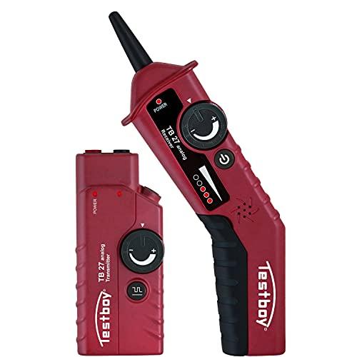 Testboy 27 Analog Leitungssucher-Set, fremdspannungsgeschützt bis 400 V, Kabelfinder (Kabelsuchgerät für nicht spannungsführende Leitungen, mit LED-Anzeige, einstellbarer Sende- & Empfangspegel), Rot