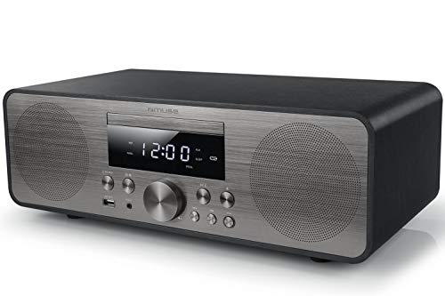 Muse M-880 BTC Design Bluetooth stereo-installatie met cd-speler en USB (FM, PLL, NFC, AUX), 80 Watt, zwart/zilver