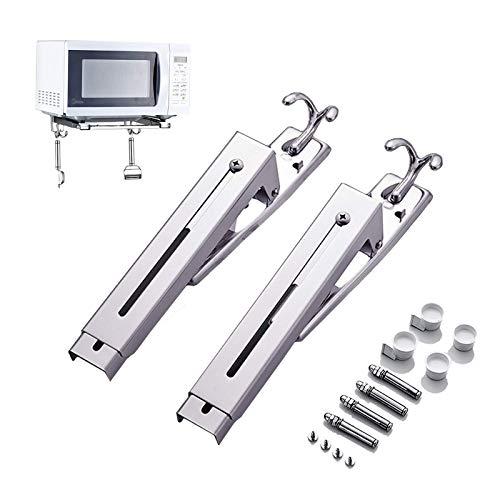 Montaje de microondas de acero inoxidable Plata extensible - Mini soporte de horno de montaje en pared - 1 par de soporte para microondas universal, fácil de ensamblar, estabilización, multifunción