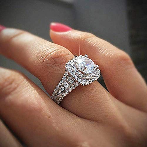 Xiaodou Princess Cut Square Simulation Diamond Ring 925 Sterling Silver Cubic Zirconia Promise Halo Engagement Wedding Band Ring for Women Girls (8)