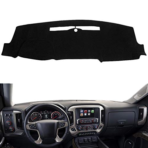 Dash Cover Custom Fit for 2014-2018 Chevy Chevrolet Silverado 1500 / GMC Sierra 1500, 2015-2019 2500 HD/3500 HD, Dashboard Mat Pad no Forward Collision Warning and Speaker Cutting (14-18,Black) Y32