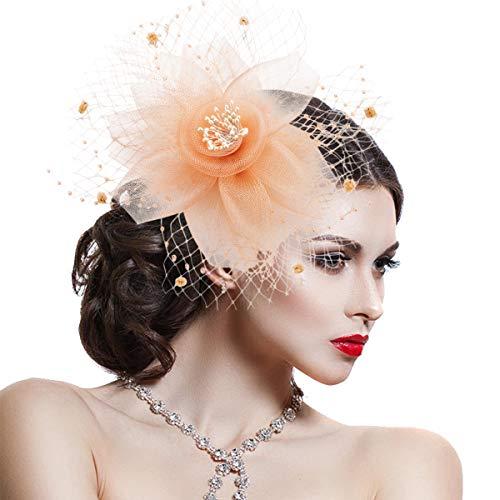 Fascinator Tocado Novia Adornos Para el Cabello con Clip y Diadema Sombrero Vintage Flor de Malla de Plumas