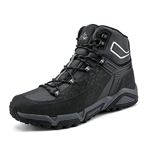 NORTIV 8 Men's Waterproof Hiking Boots Outdoor Mid Trekking Backpacking Mountaineering Shoes Black Size 11 US JS19006M