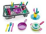 Dress Up America Super durevole pretendere set-bambini piatto set-27 pezzo con Drainer-plastica giocattoli da cucina per bambini,Multi