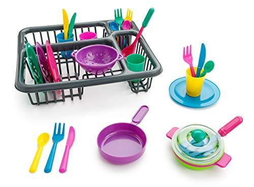 Playkidz súper Durable juego de aparentar-Conjunto de platos para niños-27 piezas con escurridor-Juguetes de cocina de plástico para niños, múltiples, color surtido (PK3033)