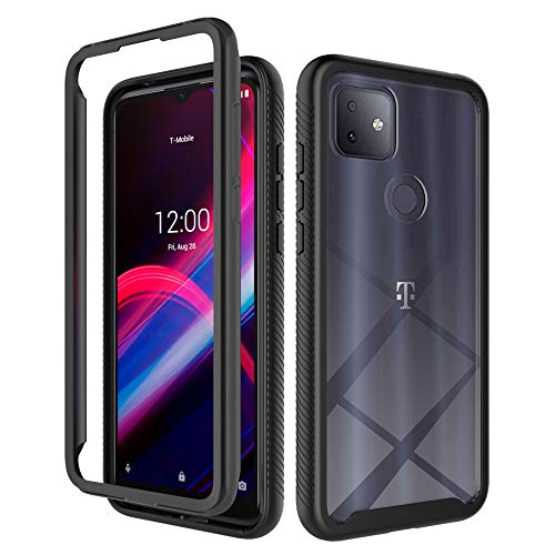 Dzxouui for T-Mobile Revvl 4 Plus Case,TCL Revvl 4 Plus Case,2 in 1 Heavy Duty Shockproof Bumper Hybrid Back Clear TPU Cover Phone Cases for T-Mobile Revvl 4 Plus+(XK-Black)