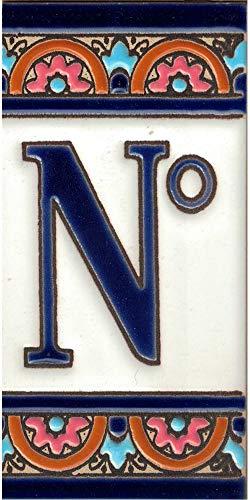 TORO DEL ORO Hausnummern, Zahlen und Buchstaben auf Fliesen, emaillierte Keramik, handbemalt, technische Schnur, Namen und Adressen, blaues Bogen-Design 5,5 x 10,5 cm (Symbol Nr.